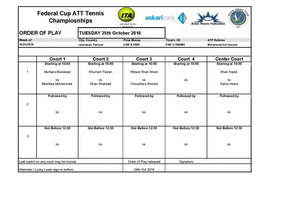 Mens Singles Main Draw and Order of Play on 24th October 2016