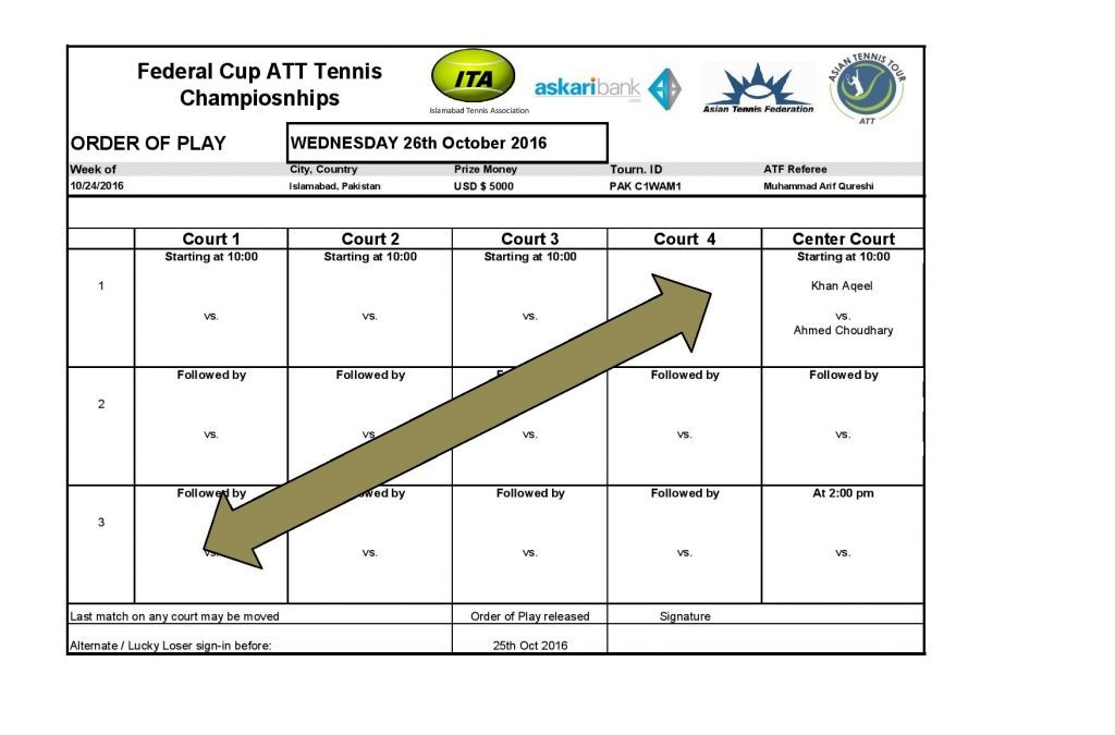 Mens Singles Main Draw and Order of Play on 25th October 2016