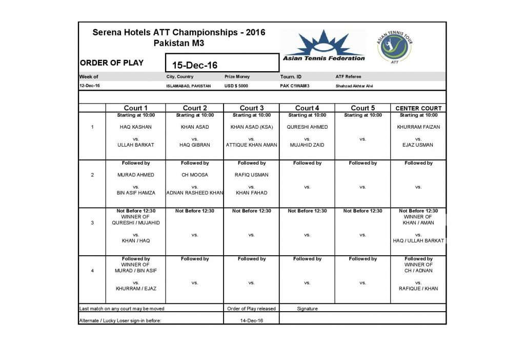 Serena Hotels ATT Championships 2016 Men's Qualifying Draw and Order of Play