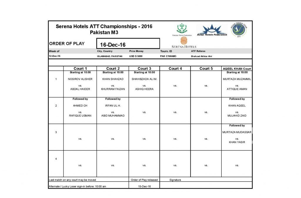 Serena Hotels ATT Championships 2016 Men's Main Draw and Order of Play for 16th Dec 2016