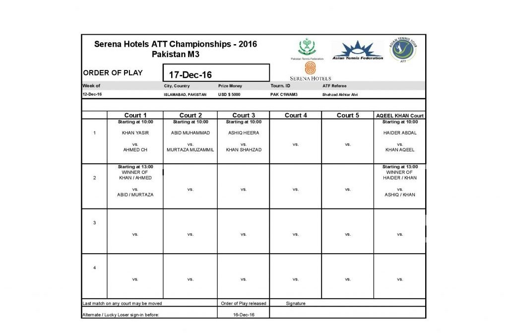 Serena Hotels ATT Championships 2016 Men's Main Draw and Order of Play for 17th Dec 2016
