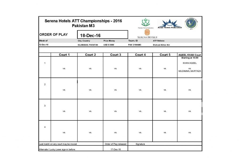 Serena Hotels ATT Championships 2016 Men's Main Draw and Order of Play for 18th Dec 2016
