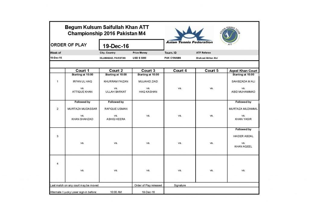 Men's Qualifying and Main Draw of Men's singles of Begum Kulsum Saifullah Khan ATT Championships 2016 along with order of play for 19 December 2016