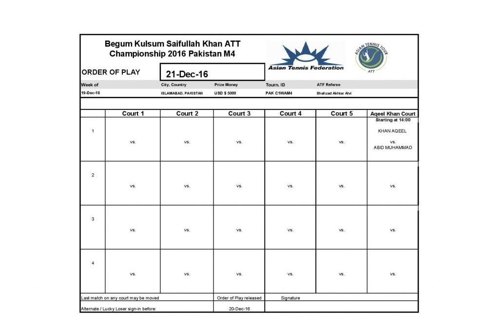 Draw Men's Qualifying and Main Draw of Men's singles of Begum Kulsum Saifullah Khan ATT Championships 2016 along with order of play for 20 December 2016